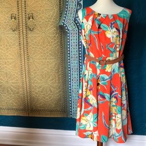 Floral patterned dress with braided belt